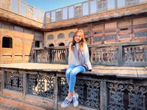 Estella sits on the rooftop of Sethi House in Peshawar