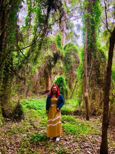 Jasmine standing in the woods with green, tall, leafy trees in the background